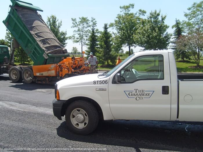 Gasaway Maintenance Company paving a parking lot