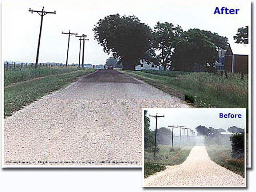 Gravel Road before and after dust control application